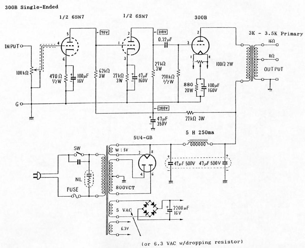 300B Single-Ended (SE) Tube Amplifier Schematic (6SN7 input)